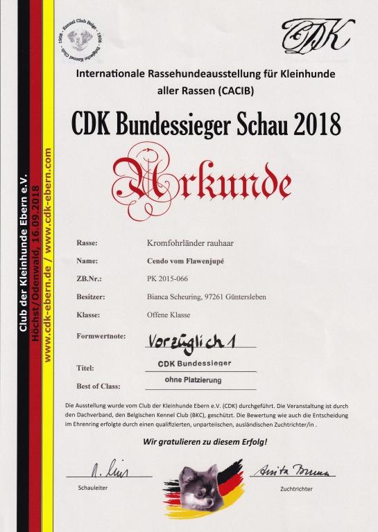 Urkunde CDK Bundessieger Schau 2018-09-16