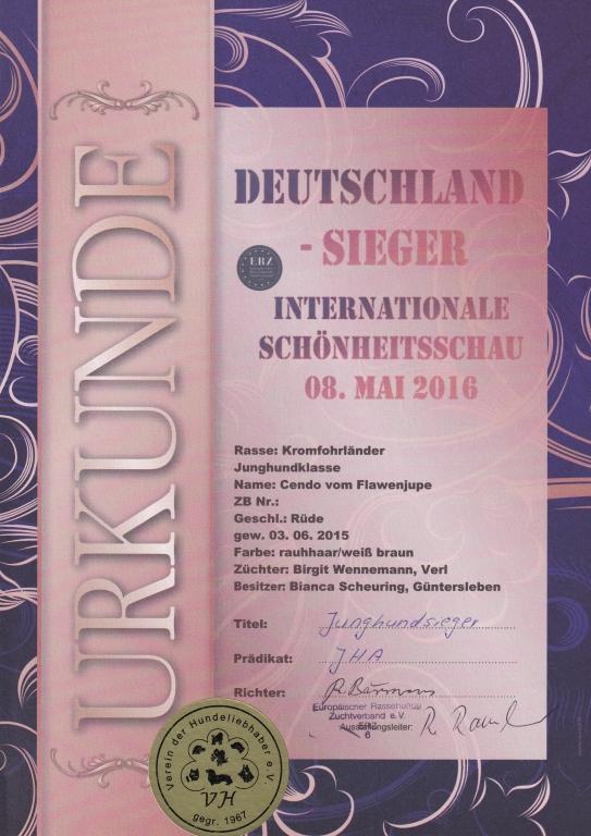 Urkunde Internationale Schönheitschau 2016-05-08