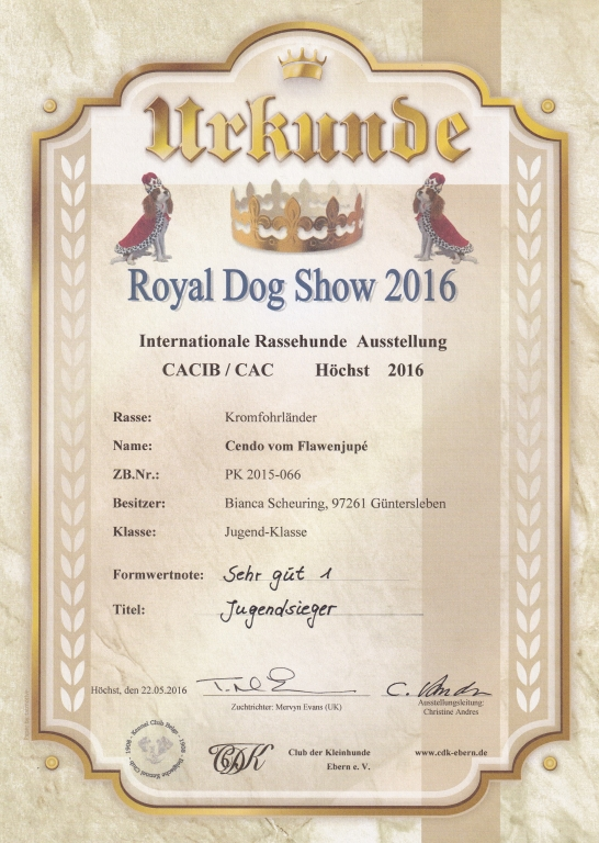 Urkunde CDK Royal Dog Show 2016-05-22