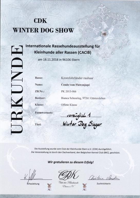 Urkunde CDK Winter Dog Show 2018-11-18